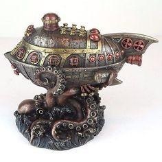 "Steampunk Submarine Vs Octopus Trinket Box Bronze Figurine Miniature 8""L New"