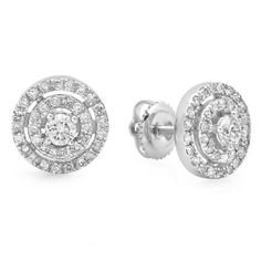 Classic and elegant, these diamond fashion stud earrings elevate any attire. Crafted in 10K White Gold, each earring features round center white diamond bordered with a double frame of smaller round accent white diamonds. A fabulous traditional look, these earrings captivates with 0.70 ct. t.w. of diamonds and a polished shine.