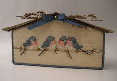 Cross Stitched Birds on Wire Birdhouse от SnowBerryNeedleArts