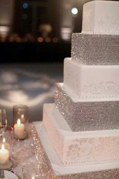 Silver and white themed wedding cake