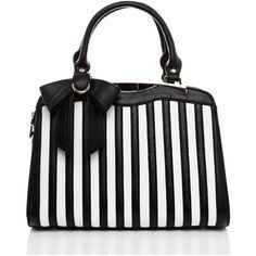 Jezzelle Black & White Stripes Handbag ($89) ❤ liked on Polyvore featuring bags, handbags, striped, black, stripe handbag, black white striped purse, man bag, purse bag and stripe purse