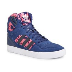 adidas 'Spectra' High Top Sneaker featuring polyvore, women's fashion, shoes, sneakers, adidas footwear, adidas trainers, lace up sneakers, blue shoes and blue suede sneakers