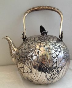Antique Japanese Silver Teapot with Floral Foliate Design & Copper Butterfly Finial on Lid