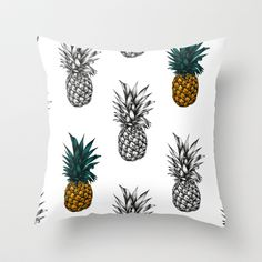Pineapple Throw Pillow by Eloise Roberts - Cover x with pillow insert - Indoor Pillow