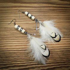 boucles d'oreilles style bohème blanche : Boucles d'oreille par gg-naturaboutik