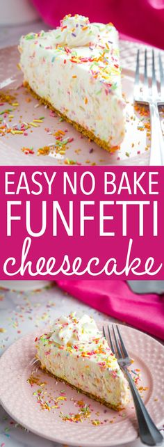 No Bake Funfetti Cheesecake This Easy No Bake Funfetti Cheesecake is the perfect birthday cake-inspired cheesecake that's so easy to make, no baking required! Recipe from ! via Easy No Bake Funfetti Cheesecake is the perfect birthday cak Easy Cheesecake Recipes, Easy No Bake Desserts, Köstliche Desserts, Oreo Cheesecake, Easy No Bake Recipes, Funfetti Cheesecake Recipe, Birthday Cake Cheesecake, Best Easy Dessert Recipes, Quick Dessert