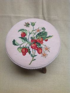 Strawberry Footstool Needlepoint and Petit Point by VintageAtticCo, $29.00