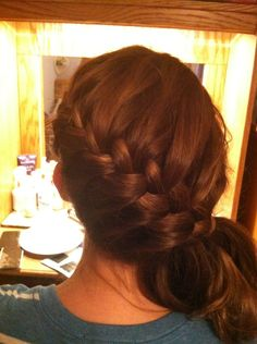 Bridesmaid hair, but with a bun instead of a ponytail