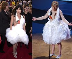 Bjork's swan dress made its debut at the Oscars in 2001. The dress, made by Marjan Pejoski, consisted of a rhinestone-embellished nude body stocking and a white skirt that looked like a swan. The infamous dress was widely mocked, with Ellen DeGeneres showing up to the 2001 Emmys in a replica.