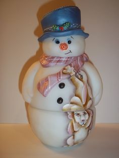 Fenton Glass Snowman Fairy Light Lamp Bunny Rabbits J.K.Spindler LE GSE #1 of 8