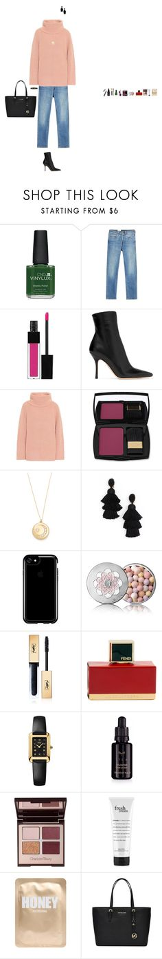 """Untitled #232"" by emmagszalay ❤ liked on Polyvore featuring CND, Levi's Made & Crafted, Edward Bess, The Row, Chloé, Lancôme, Sasha Samuel, Oscar de la Renta, Speck and Guerlain"