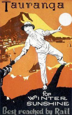Railways Studios Original Vintage New Zealand Railway Travel Poster Tauranga For Winter Sunshine 1934 Tauranga New Zealand, New Zealand Cruises, A4 Poster, Poster Wall, New Zealand Art, Kiwiana, Vintage Travel Posters, Retro Posters, Poster Vintage