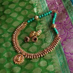 Gold Plated Necklace with Earrings - by Banyan Jewelry
