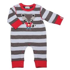 Raccoon Jo Playsuit by Lilly & Sid Lilly & Sid's new character Racoon Jo looks super cute as an applique on this limited edition baby boys playsuit. The funky yarn dyed stripe is made from premium 100% cotton jersey fabric to ensure a comfort fit for your little one. Popper fastening to neck and legs, rib cuffs and neck, logo tab to cuff.  #romper #lilly-and-sid