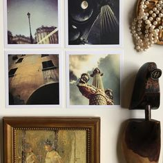 Who says pearls are only to be worn? You can add them to your art wall photo collage 😉  Paris and Bologna photography is mine, the painting is by Berthe Morisot, one my favorite Impressionists painters. I found the old shoe form at a second hand store.