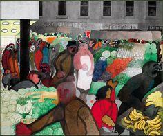 Edward Burra (British, 1905-1976), The Market. Ink, watercolour and gouache, 80…