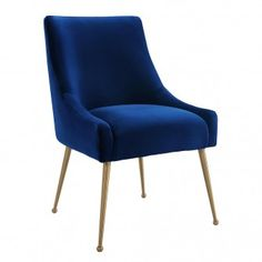 Sit pretty in this sumptuous yet durable velvet chair. The Beatrix dazzles as a dining chair or as an accent piece. Available in velvet with fab gold stainless steel legs and a matching handle on the back. Prop it into any room for a luxe, glamour effect. Navy Dining Chairs, Upholstered Dining Chairs, Side Chairs, Office Chairs, Desk Chairs, Kitchen Chairs, Dining Table, Dining Set, Black Chairs
