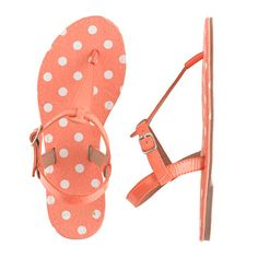 Girls' patent T-strap sandals in polka dot (all colors)