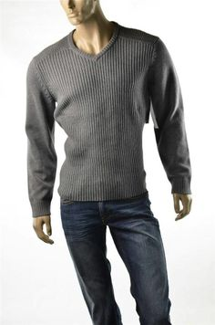 Calvin Klein Sweater Mens Sweaters Gray Crew Ribbed NWT Pullover  XL T-shirt New #CalvinKlein #Crewneck