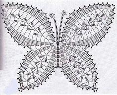 Crochet by Tukta: doily butterfly Crochet Butterfly Free Pattern, Crochet Doily Diagram, Crochet Flower Patterns, Crochet Motif, Crochet Doilies, Crochet Flowers, Crochet Designs, Filet Crochet, Crochet Art
