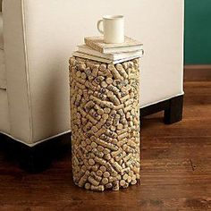 How about constructing a striking side table out of the Sutter Home wine corks youve collected?