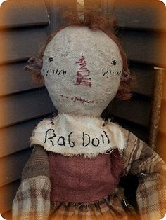 Primitive Doll Folk Art Doll Primitive Rag Doll by mustardseed