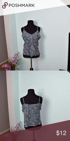 Adorable Blue Floral Print Flowy Tank Top In excellent condition and super cute! Tops Blouses