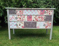 Pretty vintage retro patchwork decoupage floral fabric granny chic 3 chest of drawers dressing table painted Annie Sloan Paris Grey Graphite...
