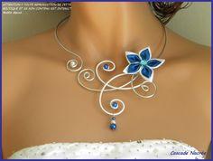 ˚•●๑ CELINE Collier mariage alu bleu roi blanc : Collier par bijoux-cascade-nacree