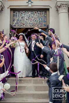 ribbon wand send off, ribbons, purple, weddings : Laura Leigh Photo