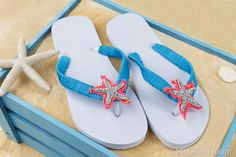 Slip these flip flops on your tootsies—and you'll have everybody at the beach seeing stars. We wrapped the straps with crochet thread before stitching on the simple star appliqués.