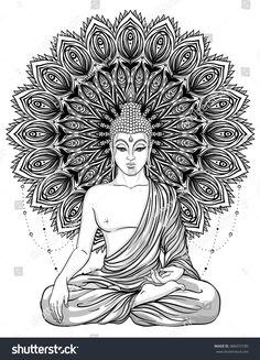 Sitting Buddha Statue over ornate mandala inspired pattern. Buddha Tattoo Design, Buddha Tattoos, Mandala Tattoo Design, Dotwork Tattoo Mandala, Lotus Tattoo, Tattoo Ink, Hand Tattoos, Sleeve Tattoos, Mandala Art