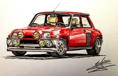 Renault 5 Turbo, Martini Racing, Car Drawings, Car Painting, Super Cars, Marker, Vehicles, Porsche, Sketches