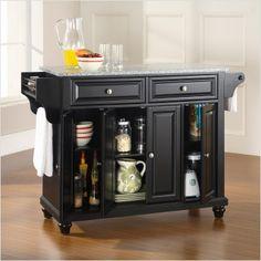 crosley cambridge kitchen island with solid granite top in black black mini bar