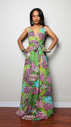 Maxi Dress Cross Over front Dress -  Boho Summer dress : Summer & Happiness Collection II