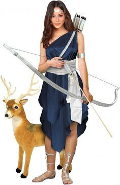 Artemis, the Greek goddess of the wilderness, the moon, virginity, and childbirth.  With her little deer too!