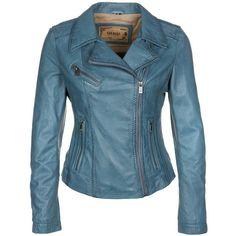 Blue leather jacket.