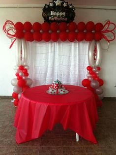 Discover thousands of images about Balloon arch Red Party Decorations, Ballon Decorations, Birthday Decorations, Balloon Centerpieces, Balloon Backdrop, Balloon Columns, Balloon Garland, Balloon Balloon, Valentines Balloons
