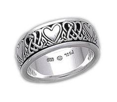 Sterling Silver Celtic Heart Knot Spinner Ring Size 7