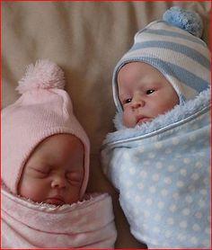 GORGEOUS REBORN BABY KITS-George & Gracie by Sandra White- 2- twins- Ltd Ed-SALE