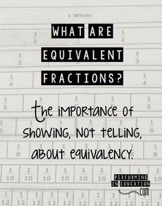 What are equivalent fractions? The importance of showing, not telling, about equivalency.