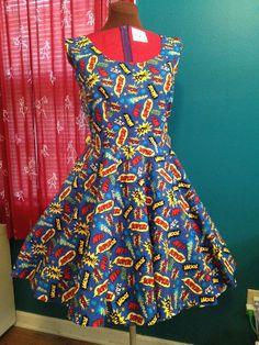 POP Comic Words Plus Size Dress  size 18 by foureyedgirl on Etsy