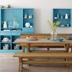 Blue kitchen storage