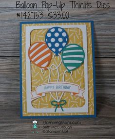 New Stampin Up Occasions 2017 catalog birthday card made with the Balloon Pop-Up Thinlits Dies, Balloon Adventures stamp set and Party Animal DSP designed by demo Beth McCullough. This was one of the display samples from the Kansas City OnStage event. Please see more card and gift ideas at www.StampingMom.com #StampingMom #cute&simple4u
