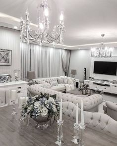 white and silver living room. Luxurious home decor ideas that will transform your living space in a  second Veronica Hernandez glamashouse Pinterest Living
