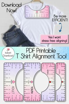 Download this t shirt alignment tool today and create your DIY shirts faster and stress free! Use this shirt ruler to run your apparel small business more efficiently! This alignment guide is a cheap and easy way to apply your design on adult, youth, toddler, and infant shirts. You won't regret it! Wedding Crafts, Diy Wedding, Cardmaking And Papercraft, Cricut Tutorials, Silhouette Machine, Sewing Tools, Diy Shirt, Silhouette Projects, Easy Projects