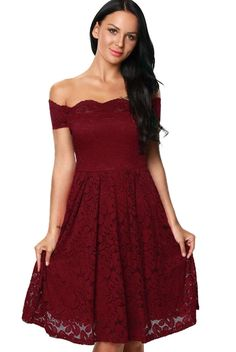 Dear lover Wine Scalloped Off Shoulder Flared Lace Women Party Dress 2017 Elegant Skater Dress Vestidos Vintage Mujer Jupe Swing, Swing Skirt, Lace Burgundy Dress, Floral Lace Dress, Burgundy Color, Red Lace, Dress Red, Party Dresses Online, Party Dresses For Women