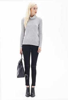 Heathered Turtleneck Sweater