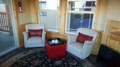 Coffee anyone. Storage ottoman in red leather