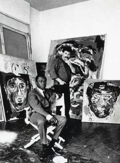 Miles Davis and Karel Appel ( Dutch painter, sculptor and poet).